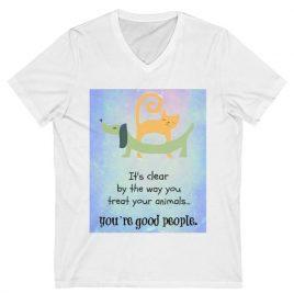T-shirt: White V-Neck (any design)